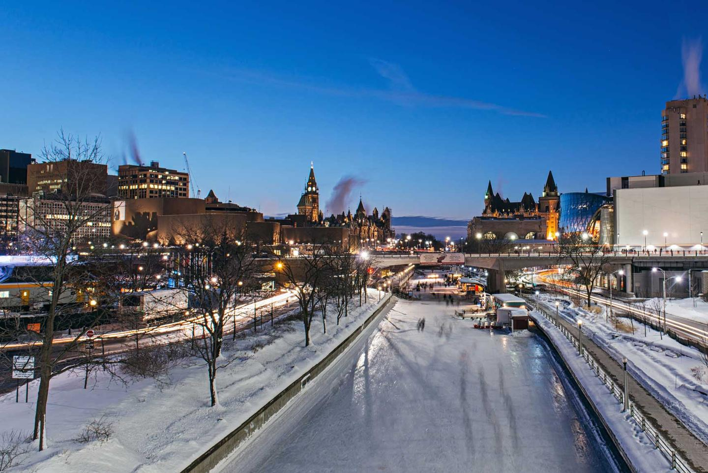 A photo of Ottawa overlooking the Rideau canal